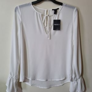 Forever21 White Long Sleeves Top (Small)